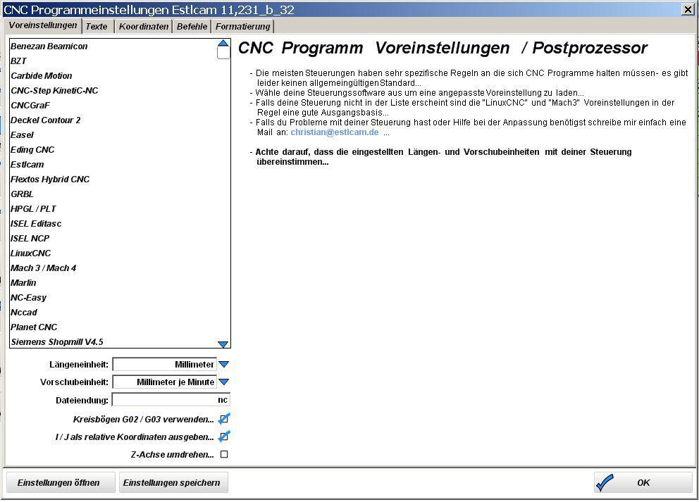 Estlcam-CNC-Programmeinstellungen