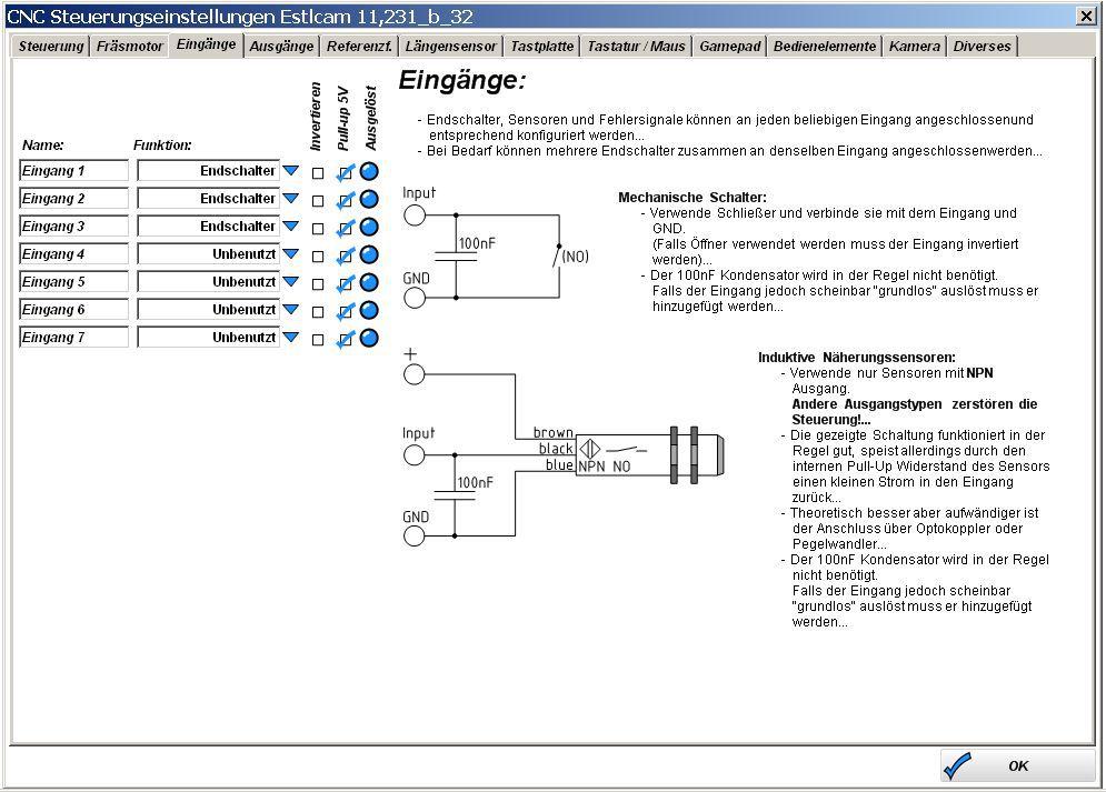 Estlcam-Steuerungeinstellung-Referenz